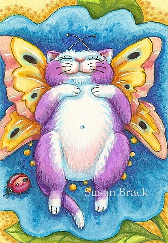 Cat Kitten Feline Fairy Butterfly Wings Fantasy Sun Bather Susan Brack Art