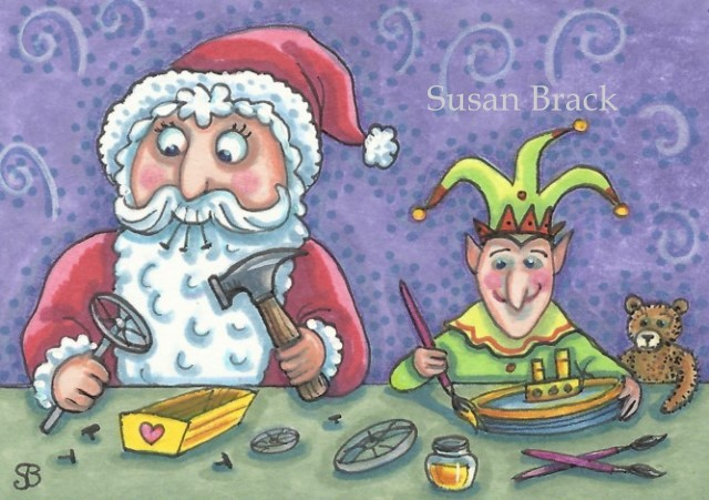 Santa's Workshop Elf Claus Toys Christmas Susan Brack Art Illustration Holidays Cartoon