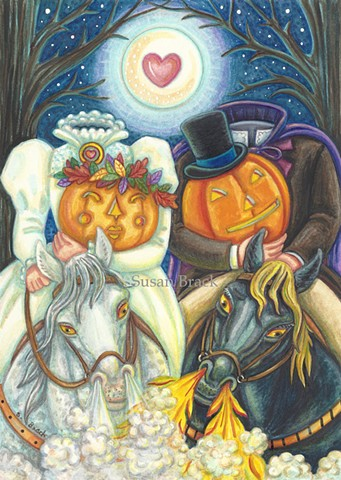 Headless Horseman Bride Groom Sleepy Hollow Halloween Wedding Susan Brack Art License