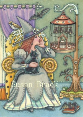 Witch Woman Halloween Bat Cage Pets Black Cat Susan Brack Art License