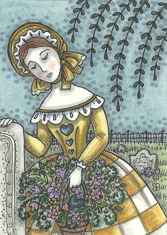 Mourning Cemetery Grave Plot Woman Grieving Susan Brack Art Illustration