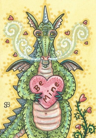 Dragon Love Lonely Hearts Valentine Medieval  Susan Brack Art Artist Fantasy Humor Cartoon