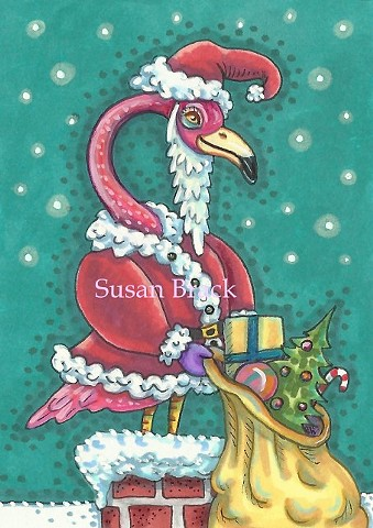 Pink Flamingo Santa Claus Bird Christmas Toys Susan Brack Art Illustration License