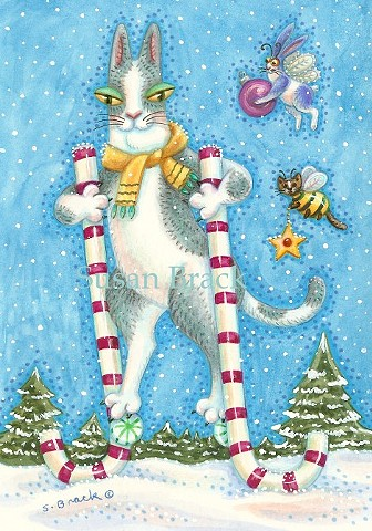 Hiss N' Fitz Cat Kitten Christmas Stilts Susan Brack Art Feline Humor EBSQ Holiday