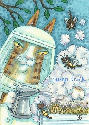Hiss N' Fitz Cat Honey Bee Keeper Hive Bumblecat Honeybee Susan Brack Art Feline Humor