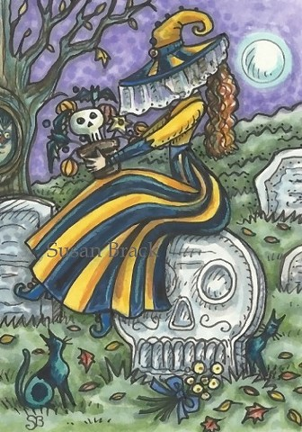 Cemetery Mourning Halloween Witch grave Goth Gothic Susan Brack Art Illustration