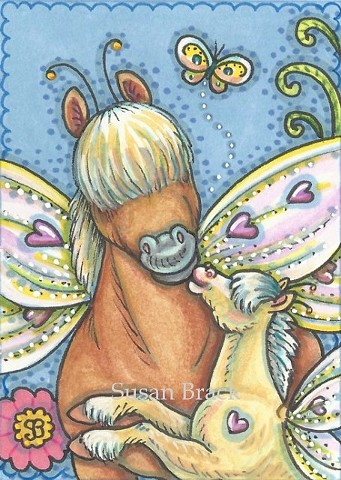 Fairy Horseflies Butterfly Wings Colt Pony Horse Fantasy Whimsy Susan Brack Art License