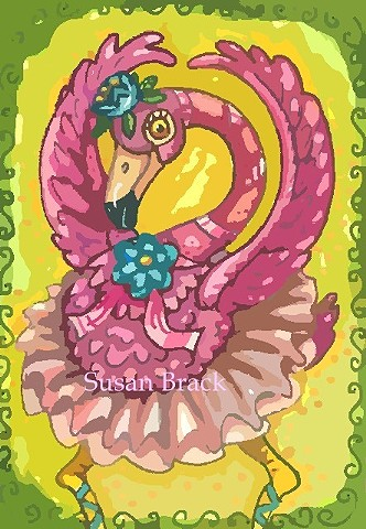 Pink Flamingo Bird Dancing Ballerina Tutu Humor Susan Brack Art Illustration Licensing