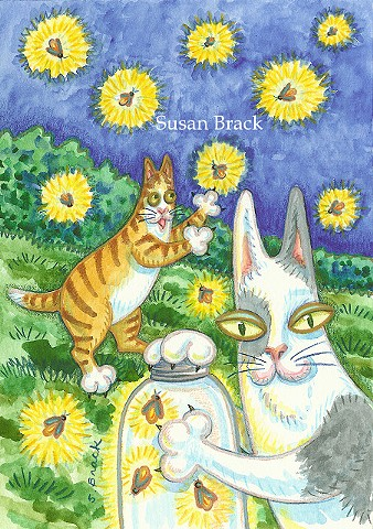 Hiss N Fitz Cat Chasing Fireflies Glow Worms Midsummer Susan Brack Series Art License
