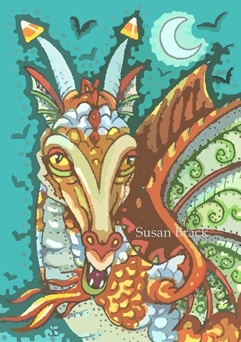 Dragon Candy Corn Halloween Medieval Susan Brack Art Illustration Artist Fantasy EBSQ