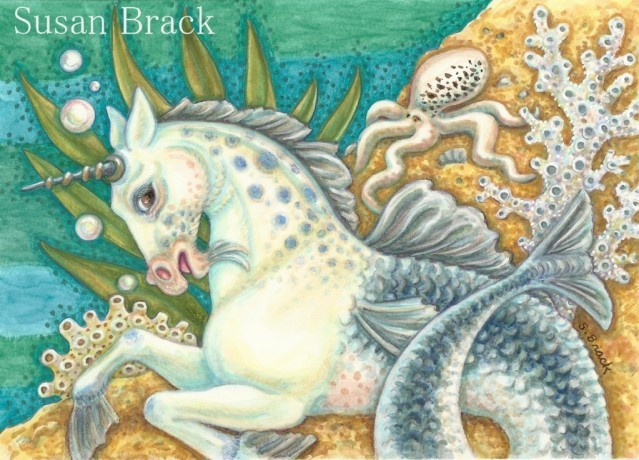 Merhorse Fantasy Sea Horse Octopus Seahorse Susan Brack Art Illustration License