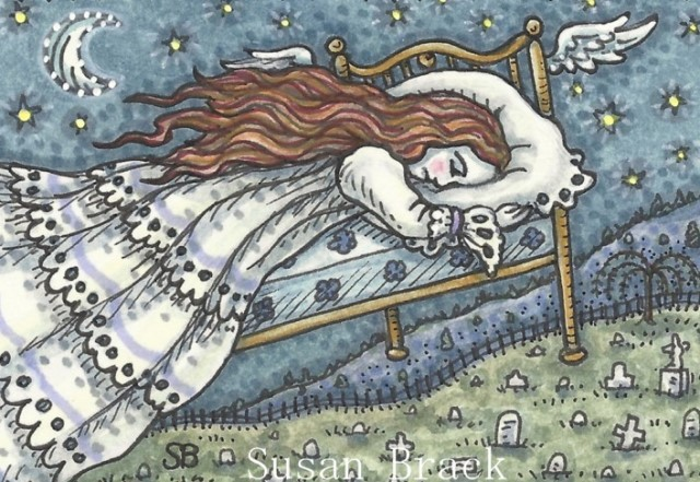 Mourning Cemetery Weeping Woman Grieving Flying Bed Susan Brack Art Illustration
