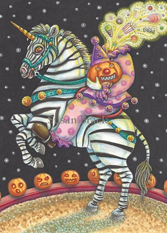 Circus Sleepy Hollow Headless Clown Horseman Zebra Halloween Susan Brack Art