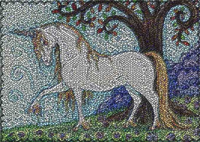 Unicorn Stallion Medieval Horse Fantasy Susan Brack Art Needlework Rug License
