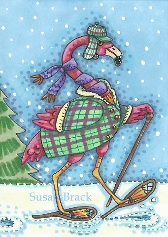Pink Flamingo Snow Shoes Winter Christmas Susan Brack Art Illustration Licensing