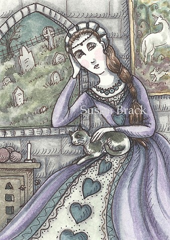 Cemetery Mourning Woman Cat Medieval Graveyard Susan Brack Art Illustration EBSQ