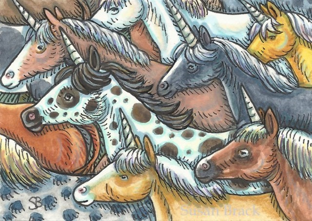Unicorns Horse Herd Pony Wild Mustang Fantasy Susan Brack Folk Art illustration License