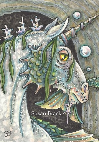 Merhorse Seahorse Sea Horse Goth Ink Fantasy Illustration Susan Brack Art