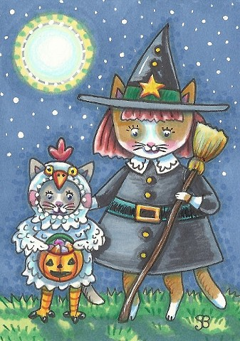 Halloween Cats Feline Kitten Costume Witch Chicken Susan Brack Art Illustration License