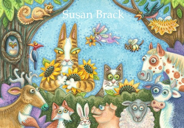 Hiss N' Fitz Cats Cow Horse Animas Feline Cartoon Series Susan Brack Illustration Art