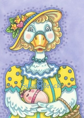 Duck Egg Easter Holiday Susan Brack Original Art Illustration License