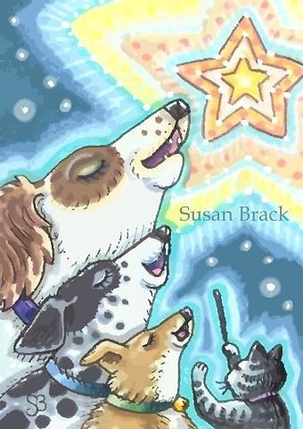 Christmas Choir Peace On Earth Singing Dogs Cat Pets Susan Brack Folk Art ACEO EBSQ