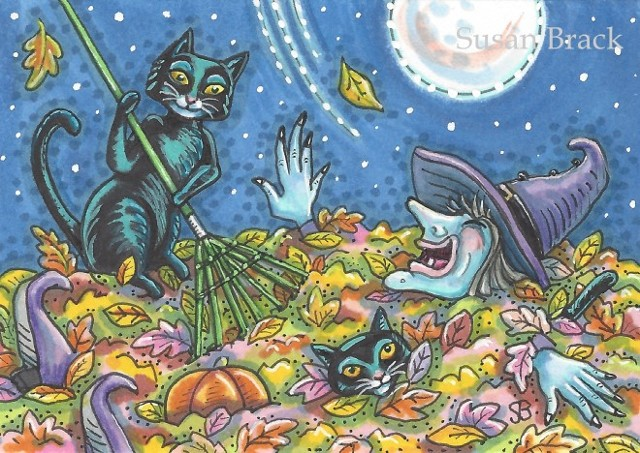 Black Cat Fall Leaves Witch Halloween Humor Susan Brack Art Illustration EBSQ ACEO