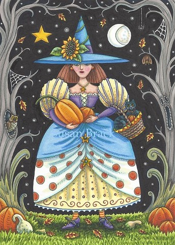 Witch Black Cats Pumpkins Owl Haunted Woods Halloween Susan Brack Folk Art license