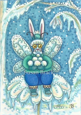 Flutterbun Christmas Bunny Rabbit Fairy Hare Winter Susan Brack Art Humor EBSQ Cartoon