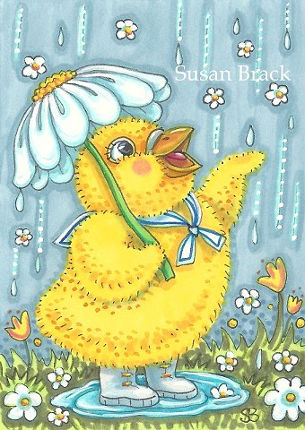Easter Spring Baby Chick April Showers Umbrella Holiday Susan Brack Art License