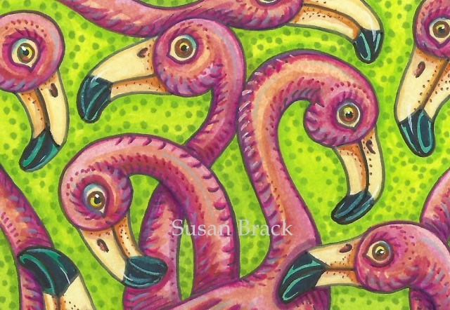 Pink Flamingo Birds Of A Feather Design Susan Brack Art Illustration License