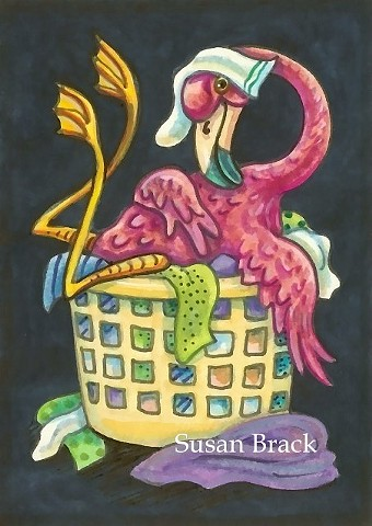 Pink Flamingo Bird Clothes Basket Humor Susan Brack Art Illustration Licensing