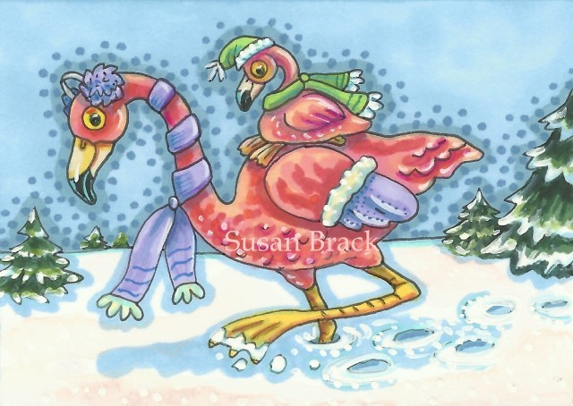 Baby Pink Flamingo Snow Piggyback Winter Christmas Susan Brack Art Illustration License