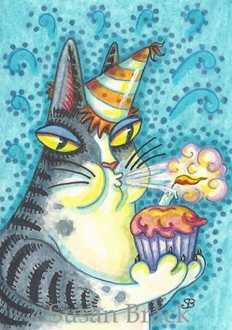 Hiss N Fitz Cat Happy Birthday Cake Candle Susan Brack Art Humor License