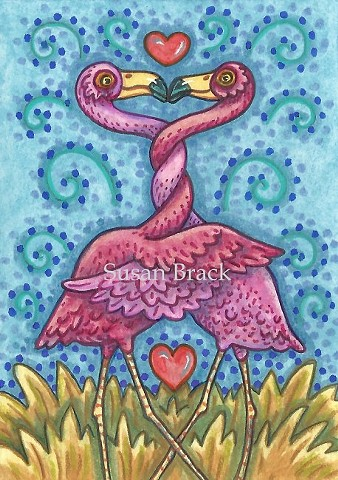 Pink Flamingo Birds Of A Feather Lovers Valentine Kissing Susan Brack Art Illustration