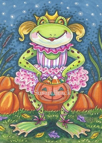 Frog Halloween Costume Jack O Lantern Trick Or Treat Susan Brack Art Holiday License