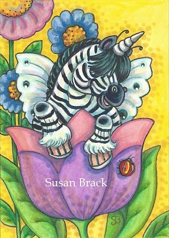 Unicorn Zebra Whimsynicker Fairy Pony Horsefly Horse Fantasy Susan Brack Art License
