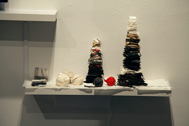 "There Is No ""Why"" In Forgiveness (detail of material maquettes shelf)"