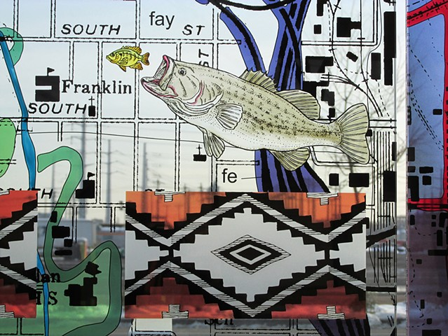 Largemouth bass and Navajo textile motif