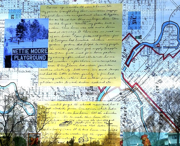 Perry Station has 4 windscreens. This detail features Nettie Moore manuscript talking about the early days growing up near Perry Station.  Nettie Moore material is from Denver Public Library with permission from Nettie Moore.