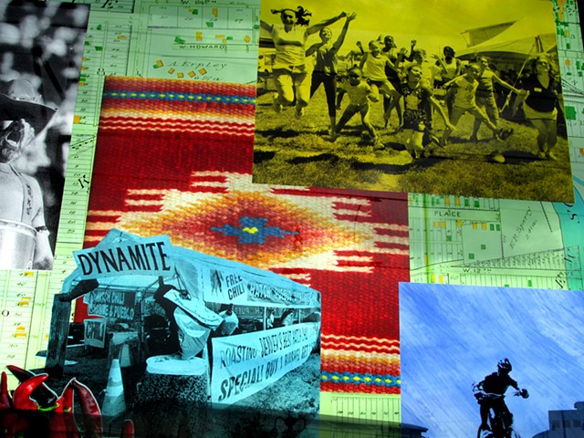 Decatur-Federal, detail with cheerleaders from Rude Recreation Center,  Barrel Man, Chile Roasters on Federal Blvd, trestle bicycle course in Barnum Park.  Weaving by Effie Archuleta