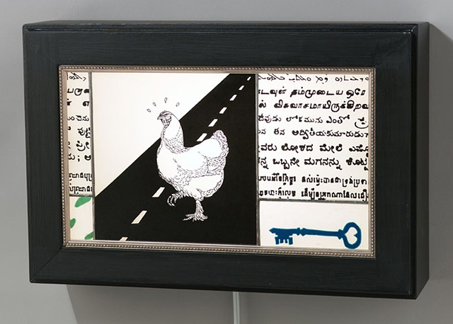 The Riddle  Precarious Situations series  Mysterious writing, a key, and a chicken crossing the road.  Art that asks a question.  Photo by Jon Bonjour