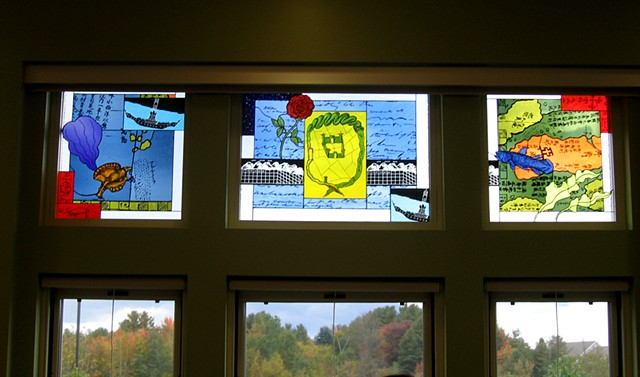 Library windows with sea hare and ink, Roman fortress, coelacanth, Thoreau manuscript, ancient Japanese map, gondola, rose, Micmac writing