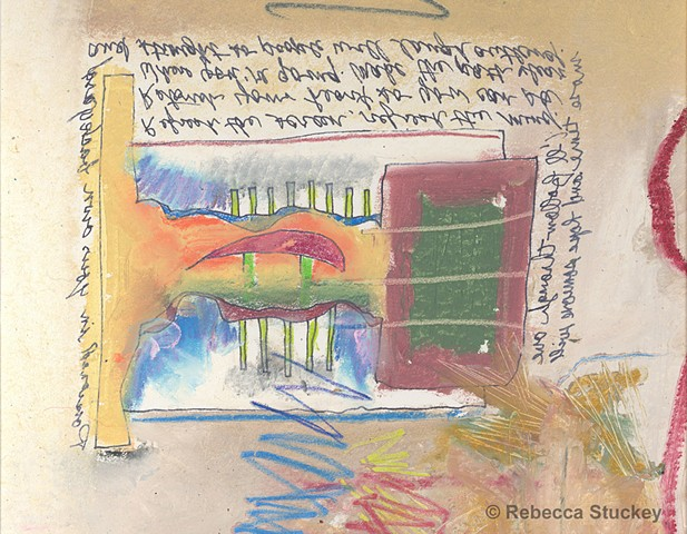 oil pastel with pen and ink and hand-written messages by Rebecca Stuckey