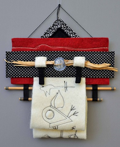 "fiber art wall hanging 12"" x 12"" made with fabric, wood and thread influenced by Japanese aesthetics  by Rebecca Stuckey"
