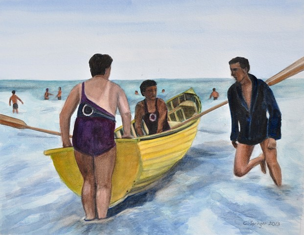 three men, Europe, rowboat, 1930s, ocean