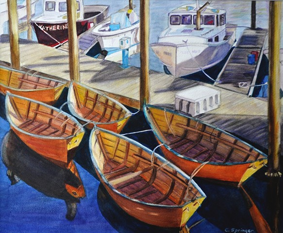 boats, Gloucester, Massachusetts, waterfront, rowboats