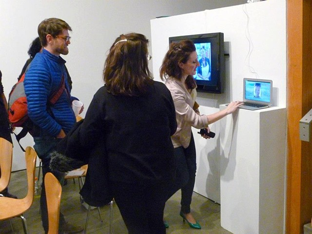 Video Conferencing with artist Malesha Jessie; Photograph by Abigail Clark