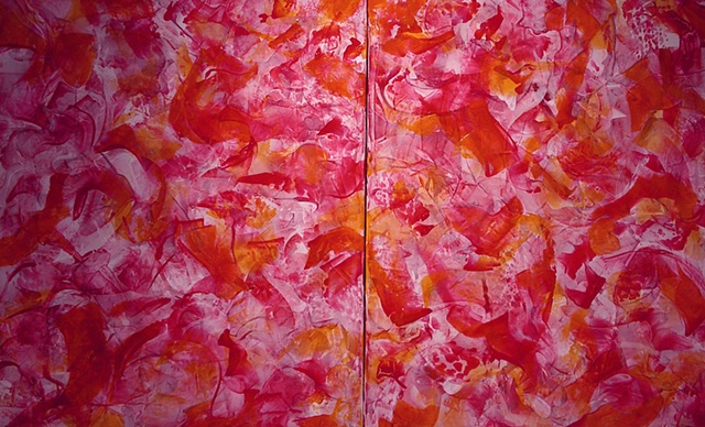 Les Pivoines (Peonies) - diptych $400 each panel, or $750 as diptych
