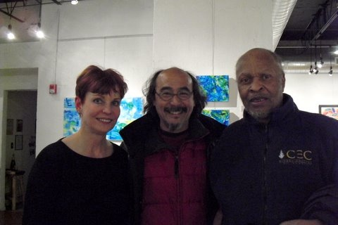 Fellow artists Homare Ikeda and Bob Ragland with the artist, WaterSongs Show 2010